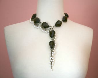 Freeform Smokey Chocolate Nuggets Cascading Pearl Necklace, Big and Bold Necklace, Dangling Pearls, Brown and White, Cascading Necklace