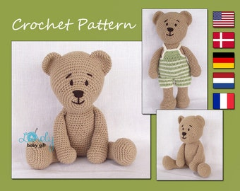 Amigurumi Pattern Crochet, Amigurumi Bear, Teddy Bear Crochet Pattern, Animal Crochet Pattern, CP-129