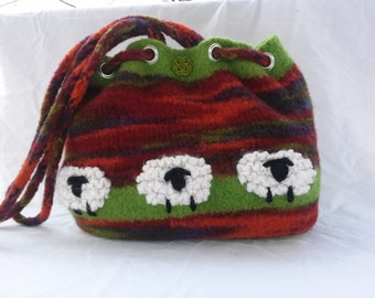 Hand Knit and Felted Sheep in the Meadow Satchel