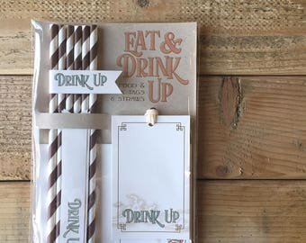 Hot Air Balloon, Come Fly with Me, Up Up and Away, Food and Drink Party Kit, Paper Straws Food tent cards  Drink tags