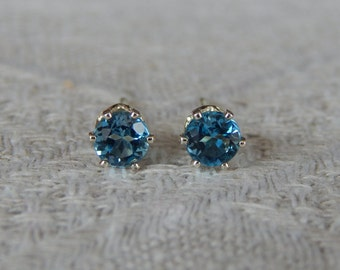 London Blue Topaz 4mm Studs, London Blue Topaz Stud Earrings, London Blue Topaz Posts, Blue Topaz Earrings, December Birthstone, Blue Topaz
