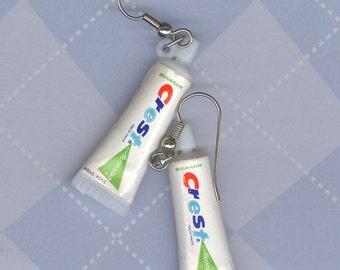 Crest toothpaste tube earring Dentist earring toothpaste earrings graduation Dentist gift Dental Hygienist gift Crackerjack gumball prize
