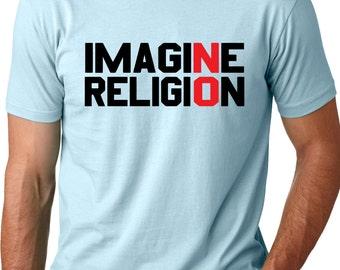 Imagine No Religion Atheist shirt cool free thinker t-shirt