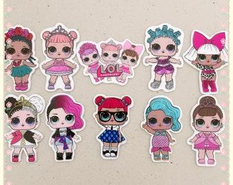 Mix 10pcs set LOL Surprise Doll planar resin, LOL doll resin, LOL doll cabochon, lol doll hair bow center, lol doll embellishment, lol dolls