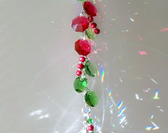 Cranberries and Holly Sun Catcher with Swarovski Crystals and Pearls
