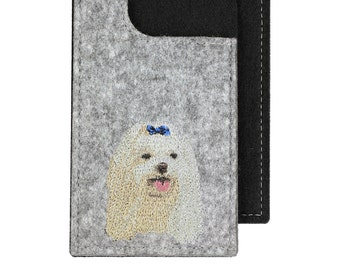 Maltese - A felt phone case with an embroidered image of a dog.