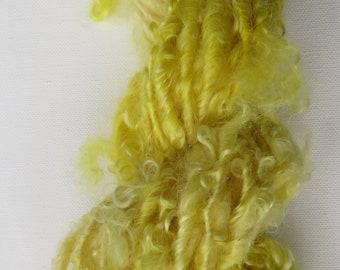 Wensleydale Art Yarn British Hand Spun Wool Sunshine 80gm Thick & Thin Yarn