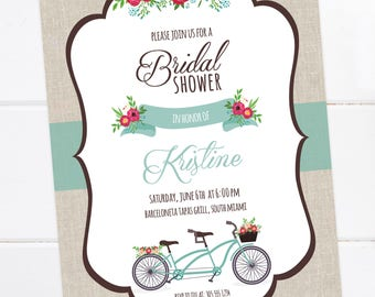 Bicycle Bridal Shower Invitation, Couples Shower, Bicycle Invitation, Tandem Bike, Built for two, PRINTABLE, DIGITAL FILE