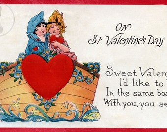Vintage Early 20th Century - I'd Like To Be In The Same Boat - Valentine