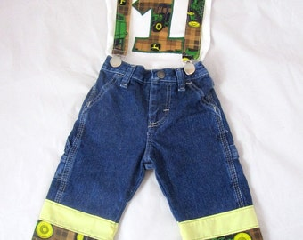 Tractors Birthday Outfit: Boy Birthday Outfit, shirt, jeans, suspenders, yellow, green, brown, adjsutable, removable, upcycled