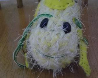 Hairy frog (green) - plush, fantasy, handmade, OOAK