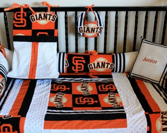 5 piece SF Giants crib bedding -free personalized pillow