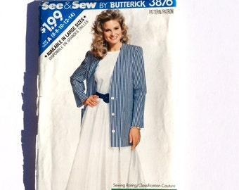 See & Sew 3876, Women's Skirt, Top, and Jacket Pattern, Size 6, 8, 10, 12, 14, Vintage Uncut Pattern