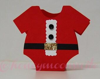 Christmas Santa Baby Onesie Favor Box - Set of 12