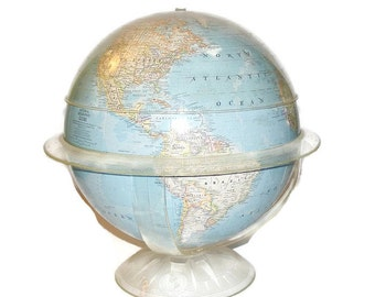 "National Geographic Globe 1961 The Globe with the Thinking Cap 12"" Globe with Geometer"