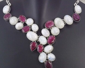 Rainbow Moonstone, Ruby Necklace Plated with 925 Sterling Silver Jewelry Handmade Exclusive
