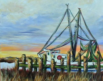 SHRIMP BOAT at the Dock; Shrimp boat painting by Paige DeBell, New Orleans artist