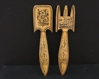 Hand made decorative wooden spoon and fork from Anatolia-Turkey