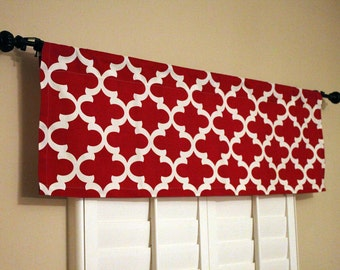 Delightful Red Kitchen Valance   Red Window Valance   Kitchen Window Valance   50x16  Valance   Window