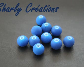 20 beads 8mm neon electric blue acrylic appearance