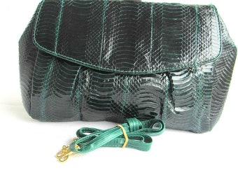 1980's J RENEE Green Snakeskin Purse Cross-Body Flap Clutch Bag,Removable Straps Mothers Day Gift