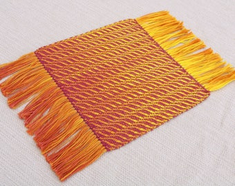 Handwoven Large Accent Coaster, Red Handwoven Coaster, Handwoven Mat