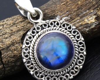 "Flashy Blue Labradorite Gemstone 925 Sterling Silver Handmade Pendant Size 1.3""-ap1110"