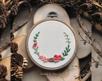 """Hand Embroidered Pink Spring/Summer Flowers - Floral Embroidery Hoop Art (4"""")"""