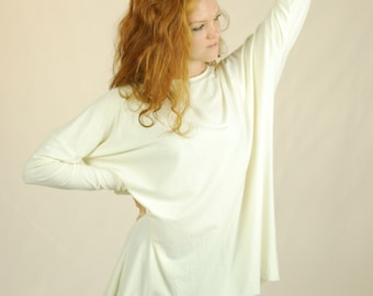 Oversized Long Sleeve Shirt - Batwing - Organic Clothing - White - Natural - Several Colors Available