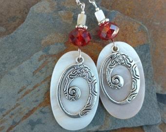 Red Swirl Shell Earrings, Red Shell Swirl Sterling Silver Earrings, Red Swirl Shell Sterling Earrings, Red Shell Silver Earrings