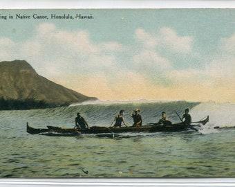 Native Hawaiian Outrigger Canoe Waikiki Honolulu Hawaii 1910c postcard