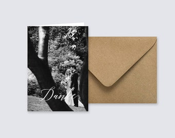 Hochzeit Danke, Danksagungskarte, Foto, Klappkarte, minimalistisch, personalisiert, Kraftpapier, Graphik Design