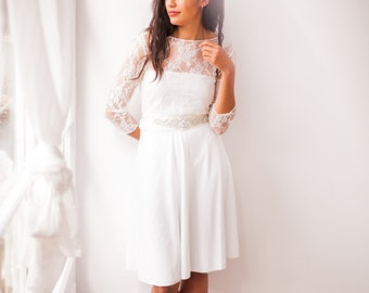 Short wedding dress with sleeves, lace wedding reception dress, white dress, long sleeve lace wedding dress, short civil bridal gown