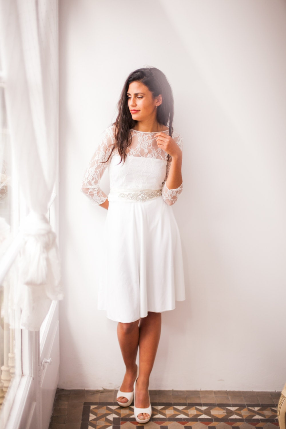 Short Wedding Dress With Sleeves Lace Wedding Reception