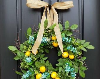 Lemon Wreath, Yellow Lemons Wreath, Boxwood and Lemons, Thin Summer Door Wreaths, Narrow Door Wreaths, Front Porch Wreaths