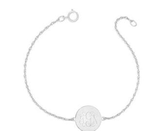 "Personalized gold Monogram Bracelet - 1/2"" custom 3 Initials link Bracelet, Initial Monogram Bracelet in 925 silver"