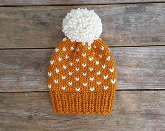 Slouchy Beanie, Knit Hat, Toque, Pom Pom Hat, Fair Isle Hat, Fairbanks Beanie - in Gold
