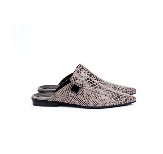 Shoes Pointed Flats Shoes Flat Loafer Ons Shoes Shoes Leather Women's Mules Snakeskin Women's Flats Elegant Mules Summer Shoes Slip 8xqI0vnvE