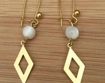 Golden triangle and White Pearl Earrings