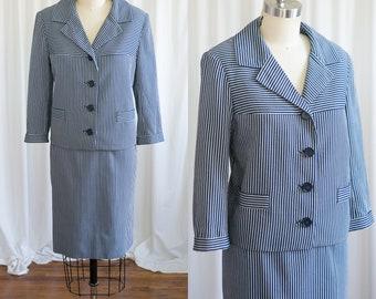 Sail Away suit | vintage 50s suit | 1950s navy striped summer suit | Mary Sachs | Weathervane Handmacher | blue pinstripe 60s skirt suit |