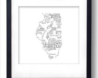 Illinois - Hand drawn illustrations and type