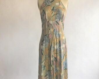 1950s 1960s Teena Paige Pastel Floral Halter Dress