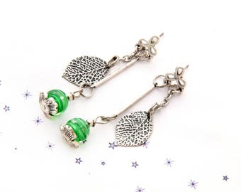 green leaf Lampwork Glass bead earrings