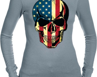 USA Skull Ladies Long Sleeve Thermal Tee T-Shirt WS-17615-B8500