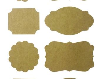 Kraft - blank label - x32pcs stickers