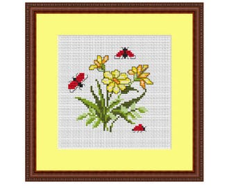 Flowers And Ladybugs  Cross Stitch Pattern. Instant Download. Beginner Counted Cross Stitch Pattern. Nature. PDF. Decor Pattern. DIY Pattern