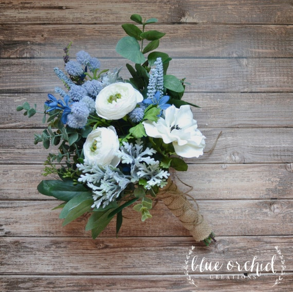 White and Light Blue Boho Bouquet with Eucalyptus and