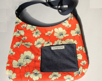 Floral Purse, red and navy, poppy flowers crossbody, bag