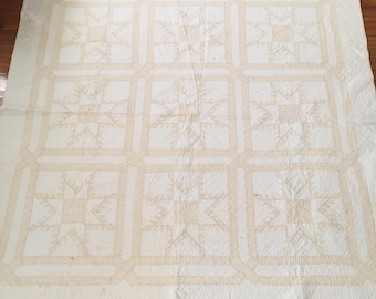 Antique Patchwork Quilt Sawtooth Star Pale Yellow Calico Print Shabby Cottage Farmhouse Chic Hand Quilted Vintage Pastel Bedding Green Lilac