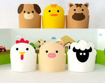 Paper Toy, DIY Kids Toys, Paper Animals, Creative Toys for Kids, Animal Printables, Printable Toys, DIY Paper Toys, Barnyard/Farm Animals
